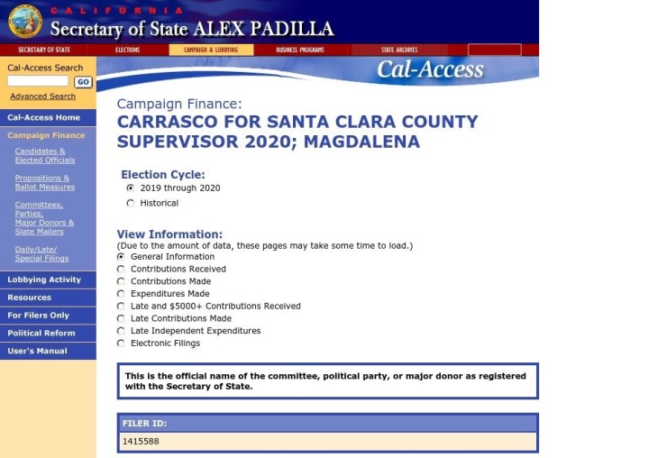 Carrasco for Supervisor Campaign Finance Filing. Courtesy of the CA Secretary of State.